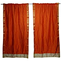 Mogul Interior Indian Sari Curtain Drape Window Decor Orange Silk Sari Drape 2 Panels Set 44""