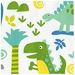 Tela blanca con dinosaurios azul verde de Timeless Treasures
