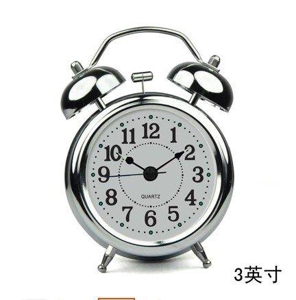 Creative metallo moda rétro tranquilla pastorale studente incantevoli luci notturne continental home sveglia,da 3 pollici silver - Metal Silver Desk Clock