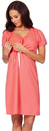 Italian Fashion IF Damen Umstandskleidung Stillnachthemd Joy 0114 Coral