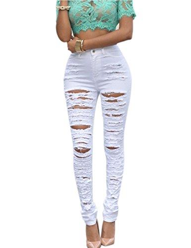 ab785b2fc2f9 Yidarton Damen Hosen Zerrissen Stretch Jeans Loch Hose Röhrenjeans High  Waist Jeanshose (S, Weiß)