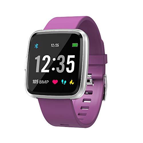 Semaco Smartwatch con Pulsómetro,Impermeable IP67 Reloj Inteligente con Cronómetro, Monitor de sueño,Podómetro,Calendario,Control Remoto de música,Pulsera Actividad para Android y iOS (Morado)
