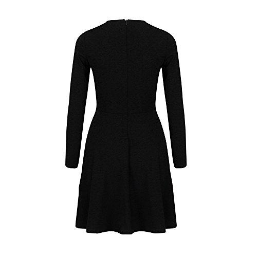 Culater® Femmes O-Neck Button Bodycon Soirée Party Long Sleeve Mini Robe Noir