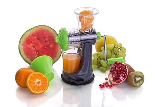 Mantavya Fruit and Vegatables Non-Electric Hand Manual Juicer with Steel Handle(Green & Black)