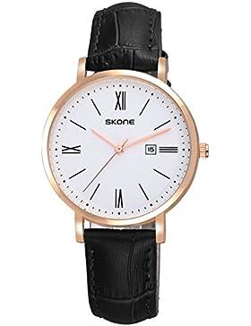 Skone Damen Schwarz süß Elegant Zierlichkeit Leder Kalender Quarz Armbanduhren