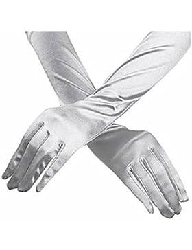 Mujer elegante longitud hasta el codo guantes de satén de 15