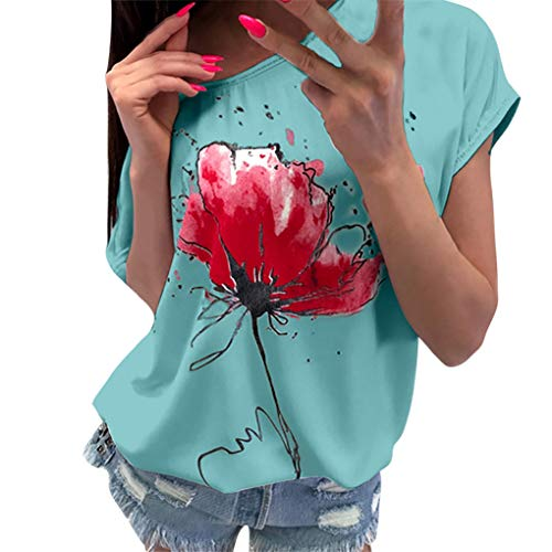 T-Shirt Oberteile für Damen,Dorical Frauen Kurzarm Blumen Pumps Gedruckt Tops Strand Beiläufige Lose Bluse Top T-Shirt lose Tee 80% (EU-40/CN-L, Z1-Grün) -