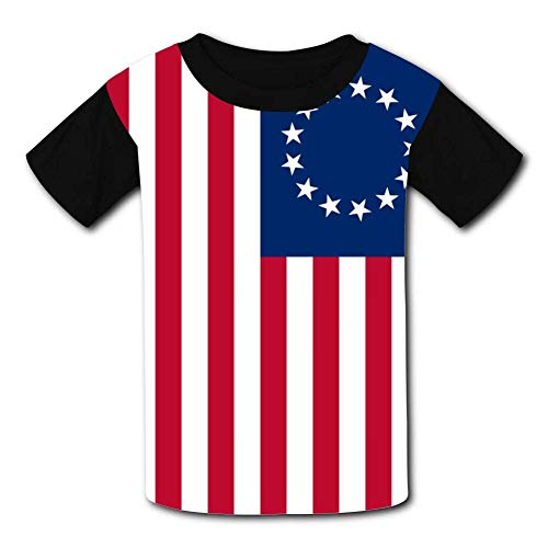Kinder Jugendliche Kurzarm T-Shirt, America Flag Betsy Ross Kids T-Shirts Short Sleeve Tees for Youth/Boys/Girls -
