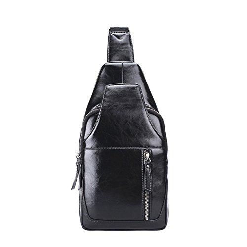 LAIDAYE Männer Casual Umhängetasche PU-Kurier-Business-Paket Schultertasche Tasche Brust,Black-OneSize (Black Kurier-tasche)