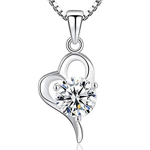 R.Sweetie | Halsketten für frauen herz| Liebe ist mein Glück | Silberkette mit Anhänger Zirkonia ähnlich Diamant | Weihnachtsgeschenk Lieblingsmensch |Geschenkbox | Hochwertig | 925
