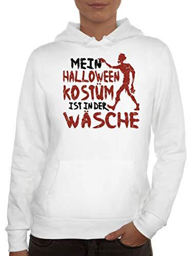 Kostüm Zombie Gruppe - ShirtStreet Grusel Gruppen Damen Hoodie Frauen Kapuzenpullover Zombie - Mein Halloween Kostüm, Größe: XXL,Weiß