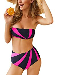 5d391a4bf83f0 Y56(TM) Womens High Waisted Bikinis Set Push Up Padded Swimsuit Flattering Swimming  Costume