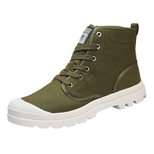 Anguang unisex traspirante stringata sneakers alte scarpe di tela scarpe da guida sportivo verde#1 41