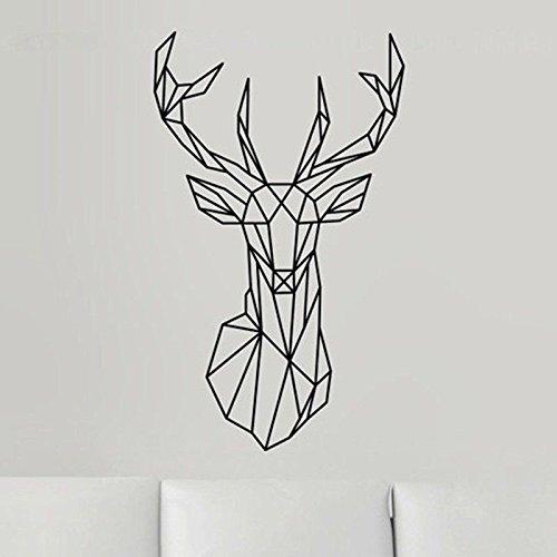 Sticker murale Adesivo da parete in vinile nuovo Cervo testa di cervo geometrica Decorativa serie animali Decor ripetibile 42X70cm