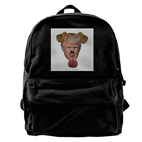 YANNAN Canvas Backpack Donald Trump Dog Snapchat Filter Rucksack Gym Hiking Laptop Shoulder Bag Daypack for Men Women