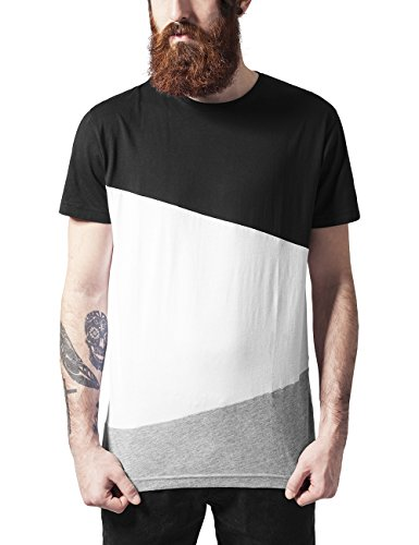 Urban Classics Long Shaped Zig Zag Tee, T-Shirt Uomo, Mehrfarbig (Blk/Wht/Gry 514), XXL