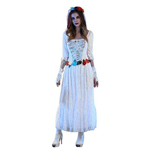 LSAltd Frauen Halloween elegante Spitze Leiche Braut Kleid, 3pcs Halloween Cosplay Partei Kostüm (Frauen-Kleid + Schleier + Handschuhe) (Weiß, (Kostüm Asiatische Prinzessin Erwachsene Für)