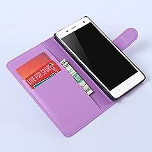 Nadakin Xiaomi Mi4 Calidad Premium Cartera de Cuero con Carcasa de Teléfono Flip Funda con Soporte Magnetico de Cierre para Xiaomi Mi4(Púrpura)