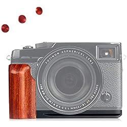 WEPOTO GP-XPro2 Trépied à fixation rapide L Support en métal pour caméra avec poignée en bois pour Fuji X-Pro2