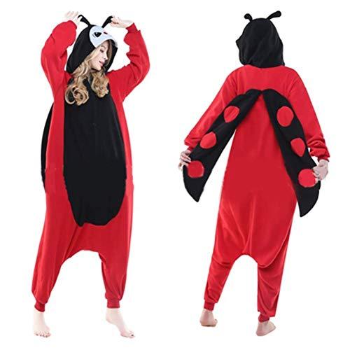 L Coccinella Pigiama Flanella Coppia Casa Vestiti Toilette Unisex Adulto  Animale Onesie Cosplay Costume Pigiama Kigurumi d09d4d61551