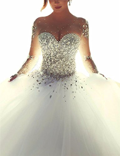 Topquality2016 Damen Kristall Perlen Prinzessin Lange ?rmel Hochzeitskleid Brautkleid Gr??e 8 Elfenbein