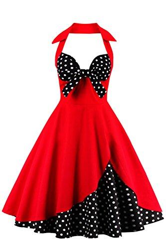 ter Vintage Retro Kleider Abendekleider, Rot Polka Dots, M ()