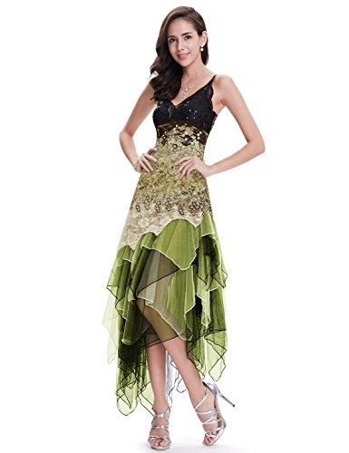 Ever-Pretty Vestito da Sera Donna Asimmetrico Scollo V Apri Indietro Abito da Festa Corto Verde 40