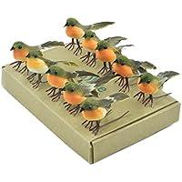 10 Robin Bird Weihnachtsbaum Dekoration Craft sehr süß Künstliche Feder