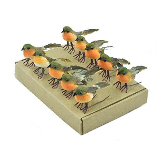10 Robin Bird Weihnachtsbaum Dekoration Craft sehr süß Künstliche Feder - Künstliche Adventskranz Kleiner