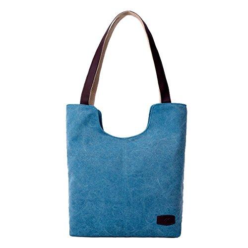 TININNA signore donne annata semplificato stile Tela Borsa Tote Borsa a tracolla Shopping Borsa Brown Blu