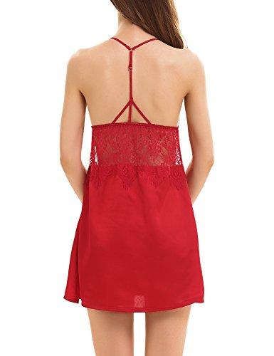 Yulee Donna Indumenti da notte della lingerie del merletto del raso Red