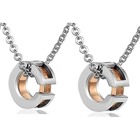 Daesar Conjunto de Joyería Collar Colgante Acero Mujer, Negro Circulo Circonita Colgante Collares