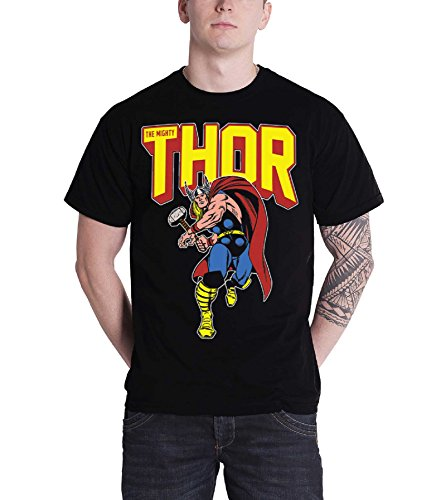 Marvel Comics The Mighty Thor T Shirt Vintage Leap Logo Official Mens Black