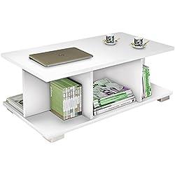 Mesa de centro moderna blanca con brillo con compartimentos