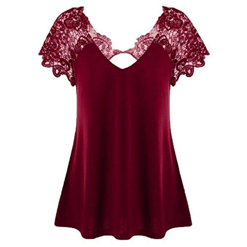 MRULIC Damen Fashion V-Ausschnitt Plus Größe Spitze Kurzarm Trim Cutwork T-Shirt Tops Geschenk Zum Muttertag (Weinrot,EU-46/CN-4XL)