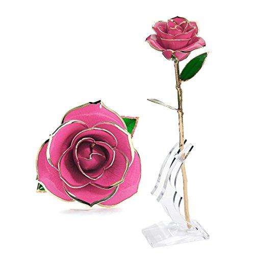 Rosa de Oro 24K con Base Soporte Elegante, Mejor Regalo para Madre, Novia, Esposa, el Día de San Valentín, Navidad, Fiestas (Rosada)