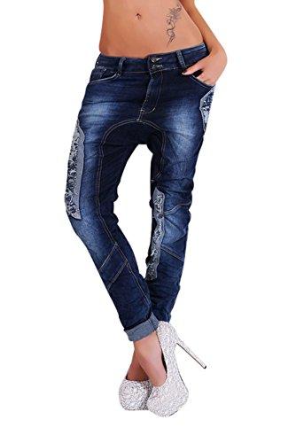 Damen Jeanshose Jeans Hose Pants Harem Baggy Boyfriend Hüftjeans blue Washed Vintage Applikation Denim Blau