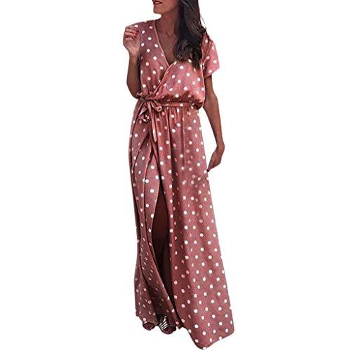 Elegante kleider Damen Kleid Cocktailkleider Ronamick Frauen Sexy rosa Welle Punkt V-Ausschnitt Maxikleid Gabel öffnen langes Kleid mit Gürtel(XL, Rosa)