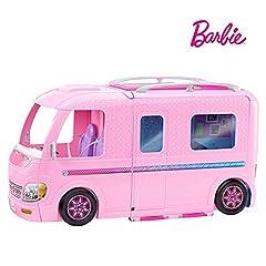 Idea Regalo - Barbie Camper dei Sogni per Bambole con Piscina, Bagno, Cucina e Tanti Accessori, Giocattolo per Bambini 3 + Anni, FBR34