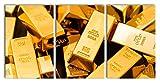 Pixxprint Beaucoup de lingots d'or, Peinture sur Toile XXL surdimensionnée 240x120m Total 3 pièces/Peinture Murale/tirage d'art...