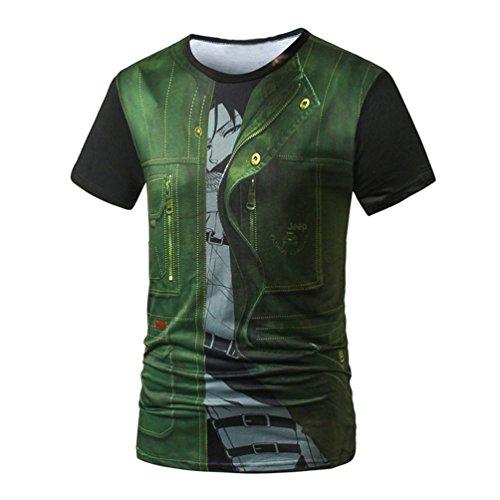 MILEEO Herren T-Shirt Kurzarm 3D Druck Print Strandshirt T-Top 4
