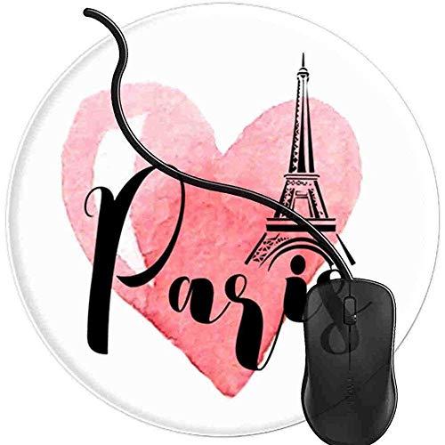 Paris Frankreich Eiffelturm Französisches Herz Rot Mauspad Gaming rutschfeste Gummibasis Komfort Mauspad Langlebig Genähte Kanten Rundes Gaming (0,3 cm * 20 cm * 20 cm) -