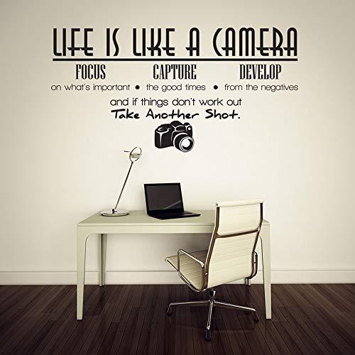 Das Leben ist wie eine Kamera Fotografie Arbeitszimmer Klassenzimmer Schule Wohnzimmer Vinyl Schriftzug Wandaufkleber Aufkleber 42 * 82cm - Kamera Ist Wie Eine Leben Das
