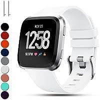 Für Fitbit Versa Ersatzhandschlaufen, Feskio Klassisch Einstellbar Weiches Silikon Sport Armband Gurt für Fitbit Versa Smartwatch, Groß / Klein