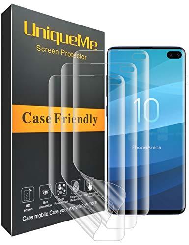 UniqueMe [3 Pack] Samsung Galaxy S10 Plus Pellicola Protettiva, HD Clear [Anti-Bubble] Friendly Full Coverage Film in TPU Flessibile Morbido Pet con Garanzia di Sostituzione a Vita