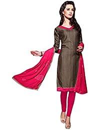 Terramart_ Salwar Set Material For Girls / Women - Chanderi Cotton ( Dark Grey & Pink)
