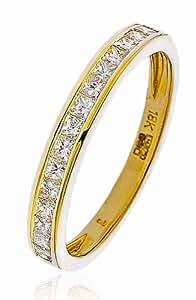 0.50CT Certified G/VS2 Princess Cut Channel Set Half Eternity Diamond Ring in 18K Yellow Gold