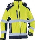 TRIUSO wasserabweisende Warnschutzsoftshelljacke mit heraustrennbarer Kapuze in gelb