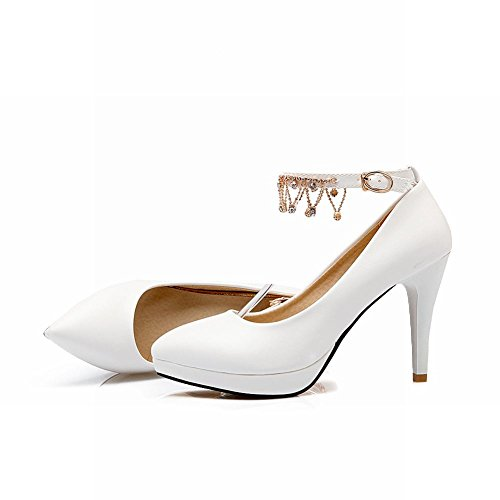 Mee Shoes Damen süß Ankle strap Schnalle Strass Plateau high heels Pumps Weiß