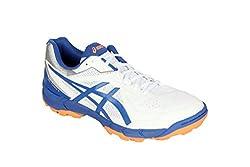 Asics Mens Gel-Peake 5 White, Olympian Blue and Hot Orange Cricket Shoes - 12 UK/India (48 EU)(13 US)